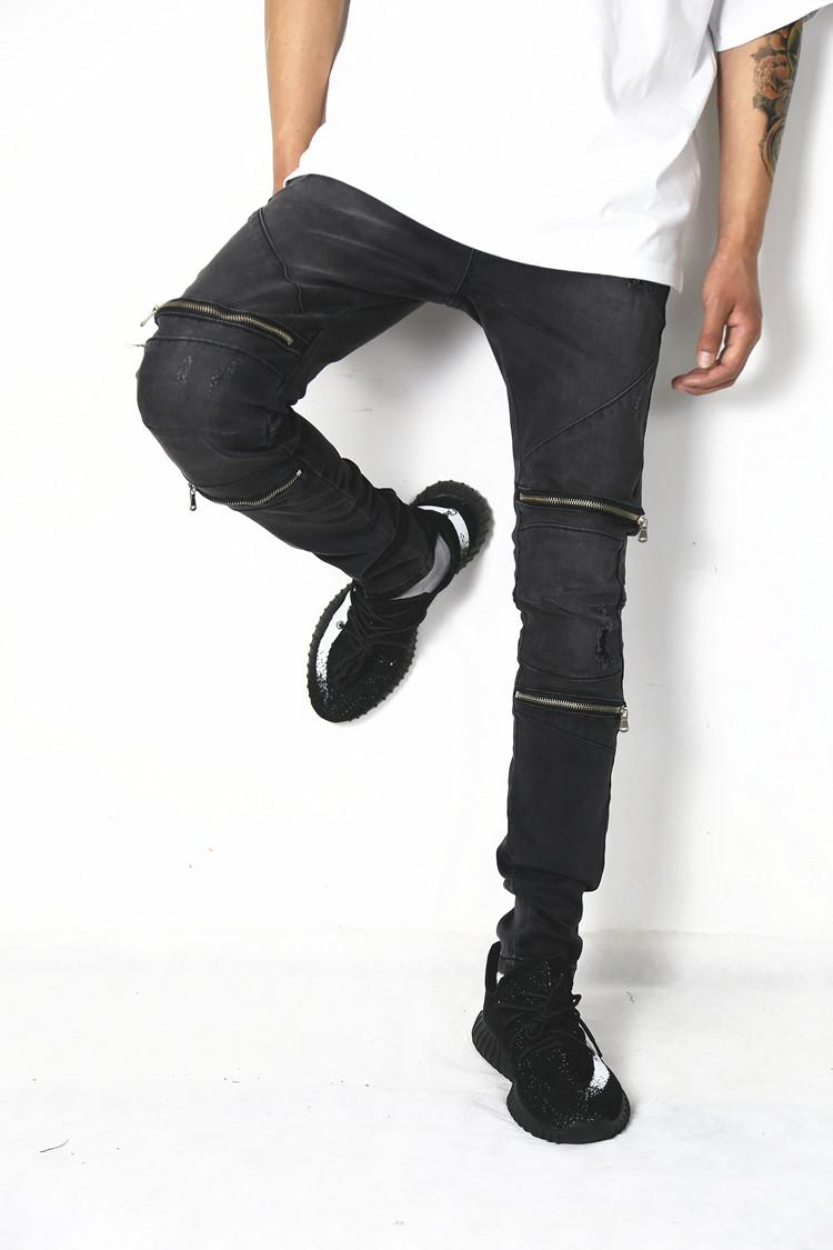 where to buy offer discounts new items 2018 Europe street mens fashion knee zipper jeans youth hole little feet  jeans elasticity casual biker jeans spring and autumn long pants