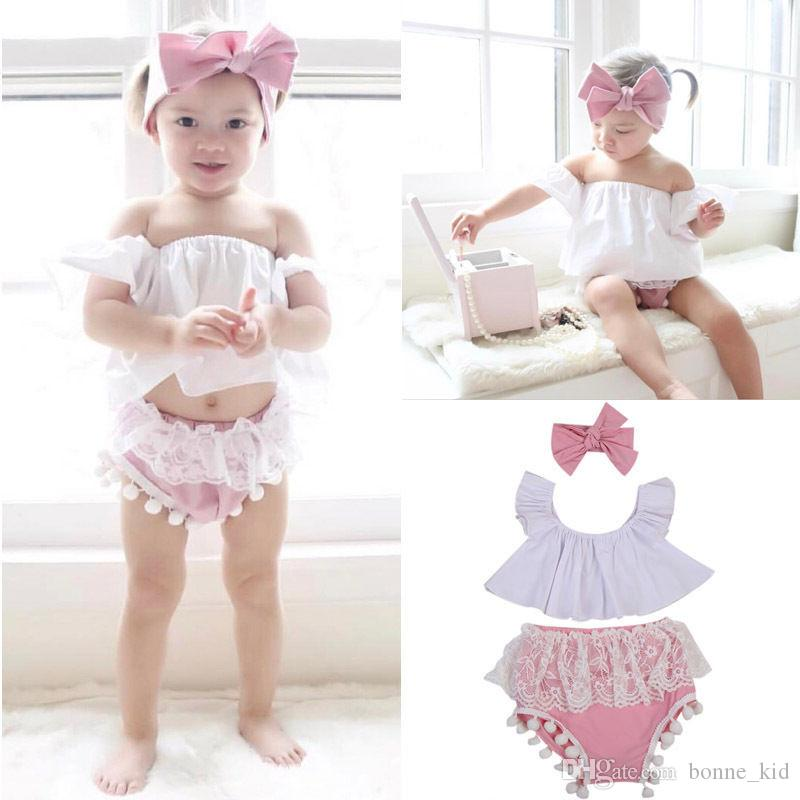 8a79d89cd 2019 Newborn Baby Girls Family Clothes Off Shoulder Top Tassels Shorts Pink Headband  Set Outfits Baby Clothes Kids Boutique Clothing 0 24M From Bonne_kid, ...
