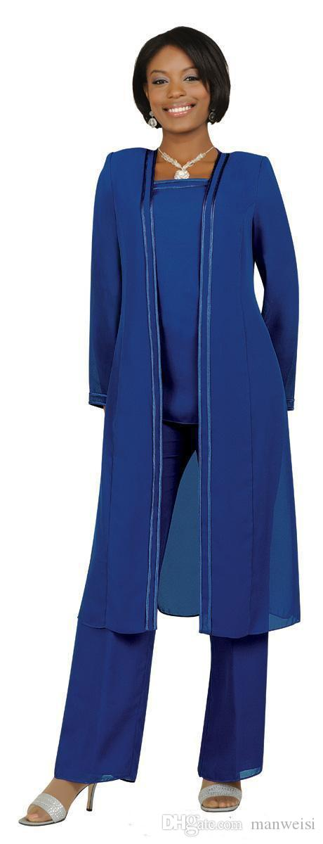 Vintage Plus Size Mother Of the Bride Groom Dresses Pants Suits Long Sleeves Jacket Fashion Custom Evening Gowns
