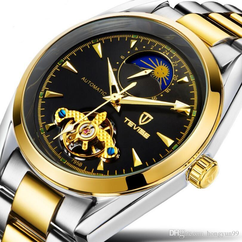 c19357f3e6a Watch Men Luxury Brand TEVISE Moon Phase Automatic Tourbillon Mechanical  Watches 316L Steel Wrist Watch Clock Relogio Masculino Affordable Watches  Good ...