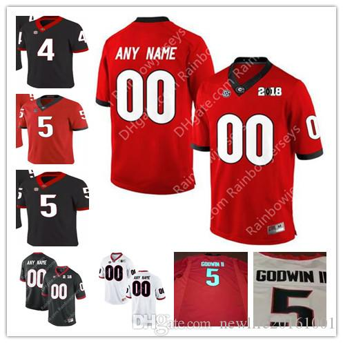 2019 Georgia Bulldogs College Football Jerseys  4 Mecole Hardman Jr.  5  Terry Godwin II  6 Javon Wims 2018 Championship Rose Bowl Red Black White  From ... ab21974c8