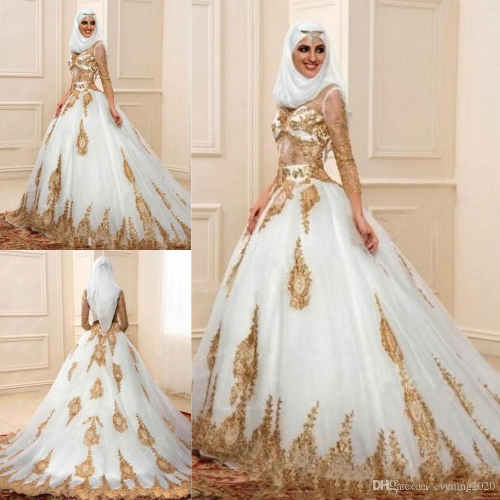 Modern Muslim Hijab Ball Gown Wedding Dresses 34 Sleeves With Gold Appliques Arabic Bridal Indian Style Engagement Gowns: Gold Gowns Wedding Dresses At Websimilar.org