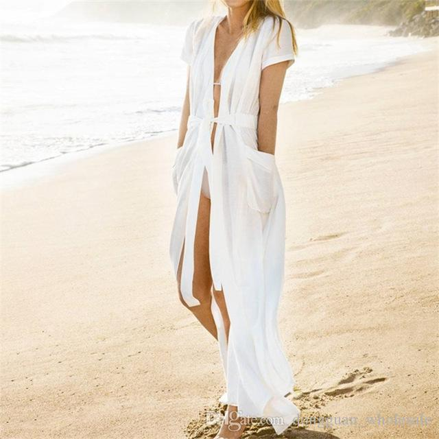 2499567bc8 2019 Pocket Swimsuit Cover Up 2018 Summer White Bikini Cover Up Women  Cardigan Pareo Beach Cover Up Long Beach Wear #Q364 From  Dongguan_wholesale, ...