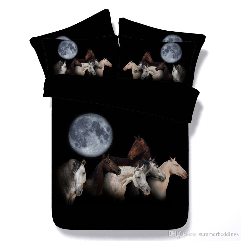 3D moon horse bedding sets duvet cover black bedspreads animal comforter cover Bed Linen Quilt Covers silver bed cover for adults