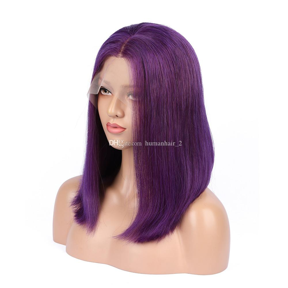 Long Colored Purple Wigs 10--26 inch Lace Frontal Wigs Brazilian Straight Human Remy Hair Wigs Density 130% Pre Plucked 100% Human Hair