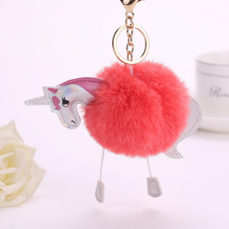 Cute Cartoon Key Chain Fashion Portable Jewelry Backpack Faux Rabbit Fur Keyring Decoration Gifts Accessories Car Pendant Easy To Lubricate Interior Accessories