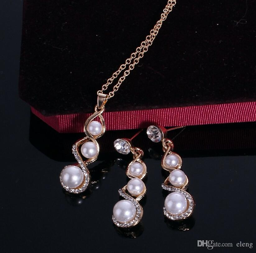 2018 Estados Unidos Ocho palabras collar de perla calabaza traje de diamantes Collar de la joyería de la muchacha + envío gratis