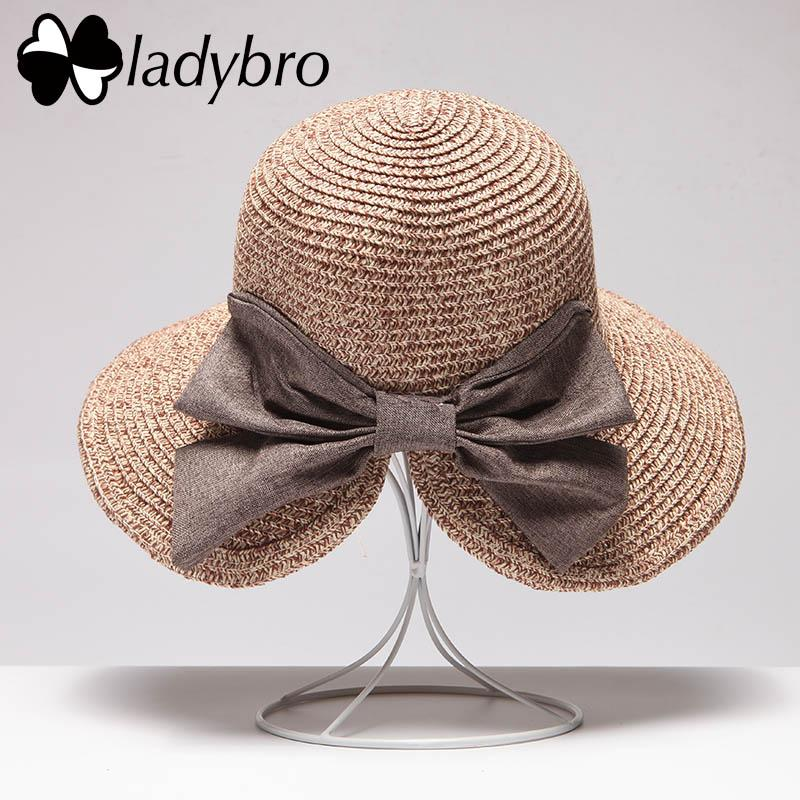 Ladybro Summer Large Brim Beach Straw Hat Holiday Ladies Sun Hats For  Female Bowknot Bucket Hat For Women Beach Headwear Travel Straw Cowboy Hats  Sun Hats ... 40201f5bd03