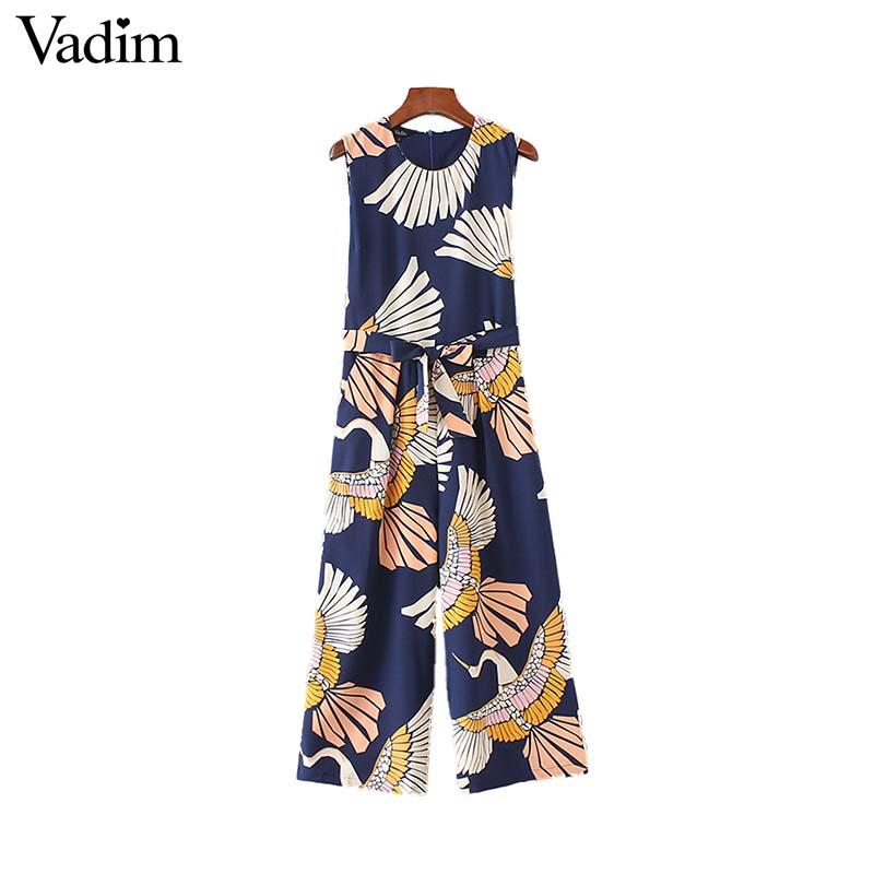 c086ee6bc03 2019 Vadim Women Cute Crane Print Jumpsuits Bow Tie Sashes Pockets  Sleeveless Pleated Rompers Retro Ladies Casual Jumpsuits KA140 From  Buttonline