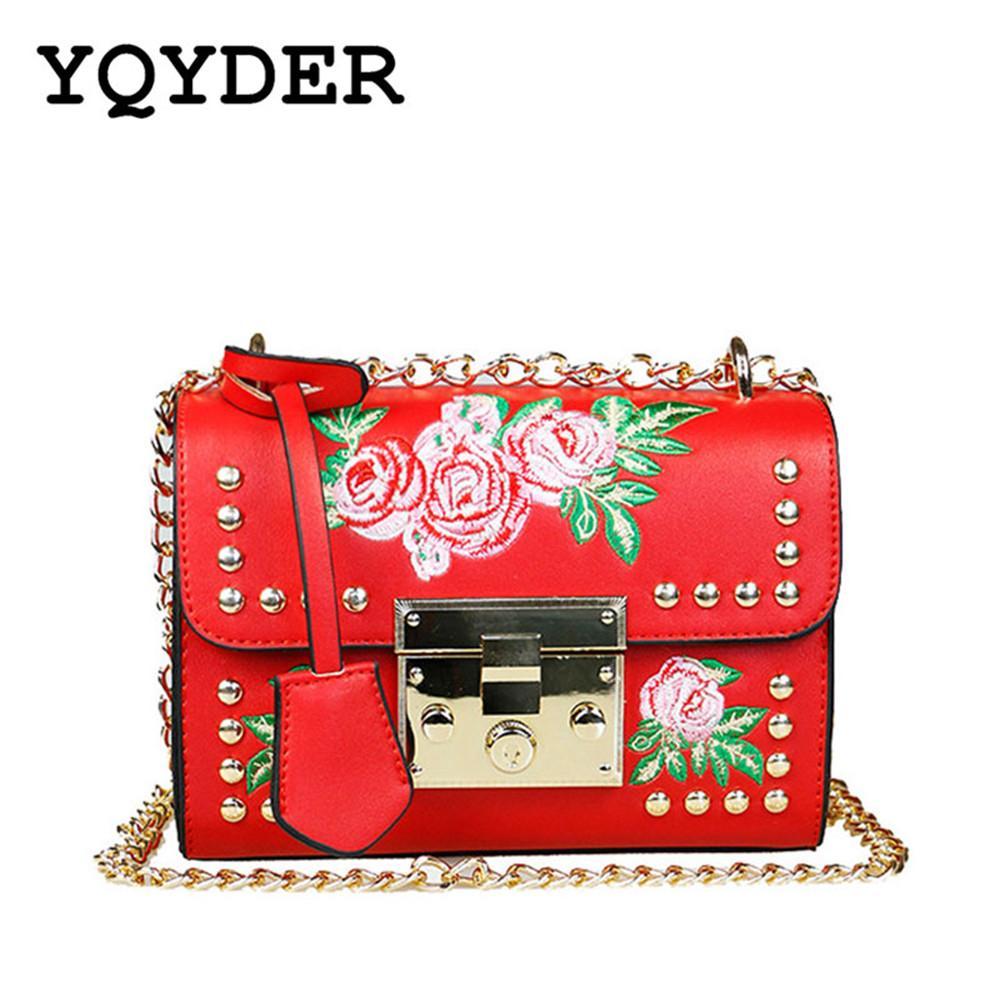 YQYDER Women Embroidery Flower Flap Bag Designer PU Leather Fashion ... c42b582a786f1