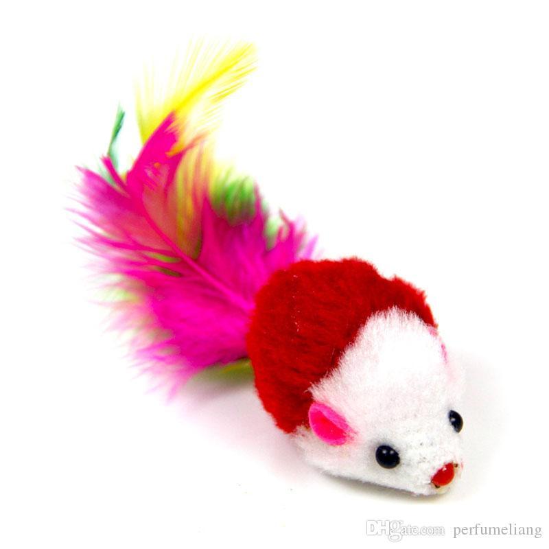 Weiche Fleece Falsche Maus Katze Spielzeug Bunte Feder Lustig Spielen Training Spielzeug Für Hunde Katzen Kätzchen ZA6138
