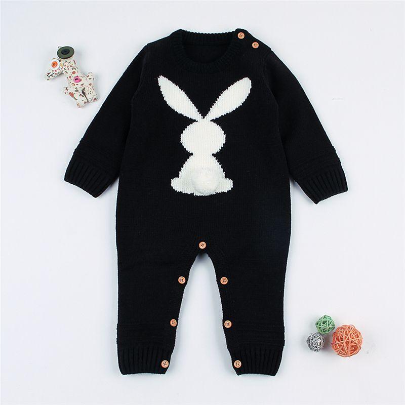 8df4e45e063f Newborn Baby Girls Knitted Romper Cute Rabbit Infantil Boys Jumpsuit ...