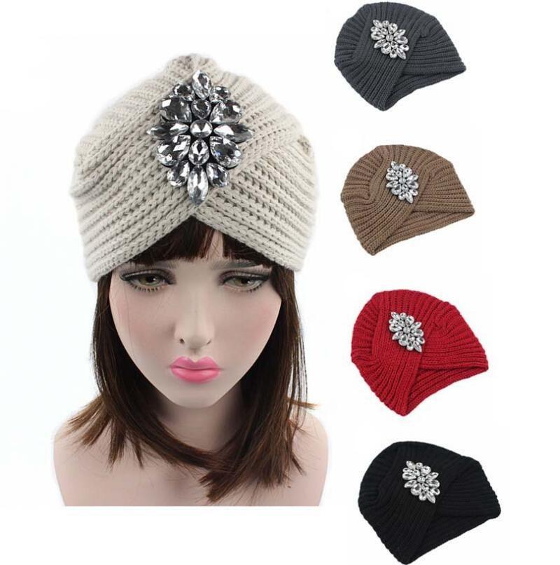 2018 New Fashion Women Winter Warm Hats Rhinestone India Cap for ... 096da15b039