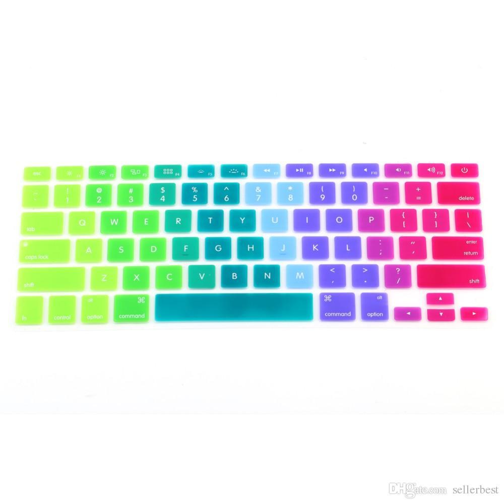 Renkli Silikon Klavye Kapak Tuş Cilt Koruyucu Için Apple Macbook 11