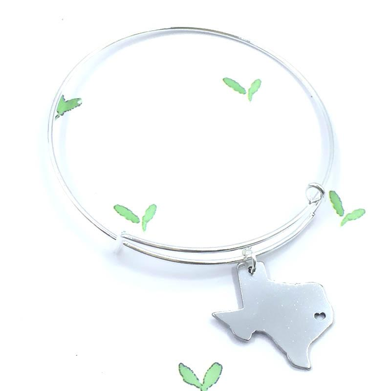 Us State Texas Bangle Texas Map Charm Bracelet I Heart Texas