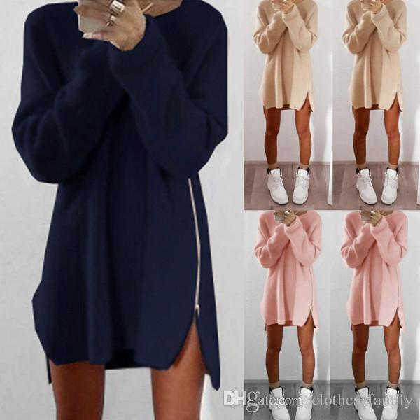 Top 2020 New High Quality Winter Warm Women Fashion Casual Loose Zipper Sweater Knitted Irregular Cotton Sexy Dresses Plus Size Long Blouse