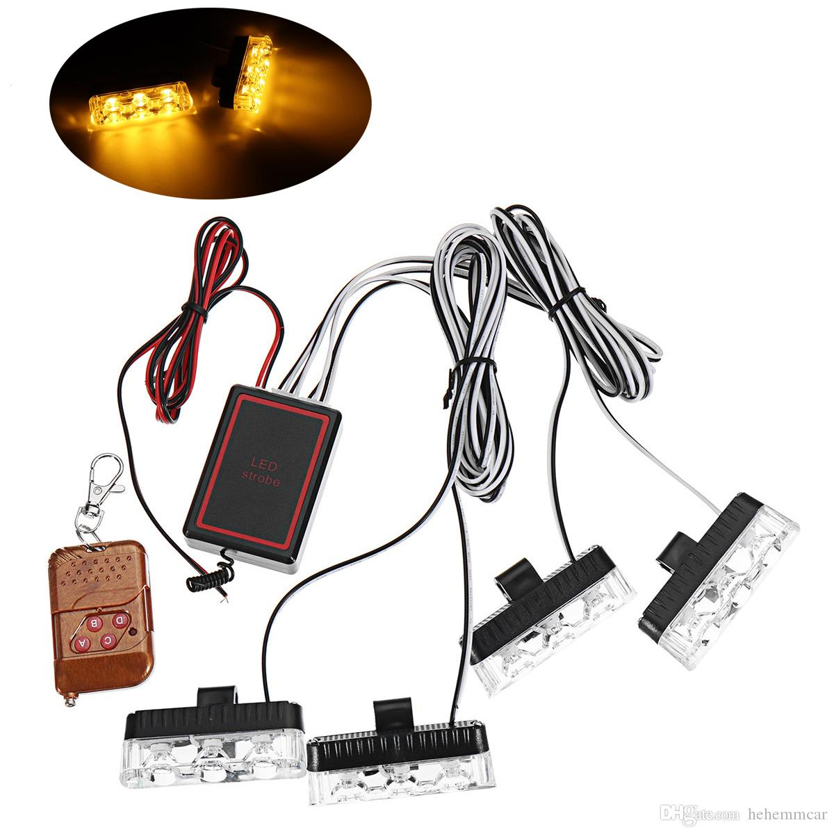 Superb Hehemm 4 X 4 Led 16 Leds Wireless Remote Car Strobe Light Universal Wiring Digital Resources Llinedefiancerspsorg