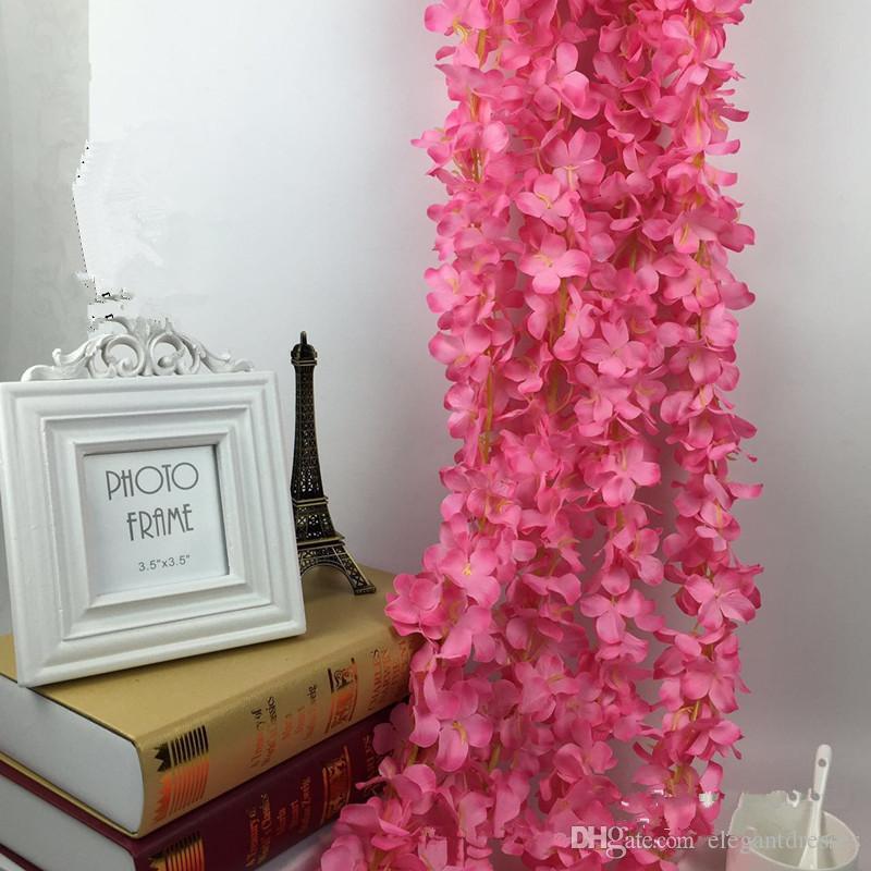 2021 낭만적 인 실크 인공 꽃 웨딩 파티 시뮬레이션 등나무 포도 나무 롱 플랜트 홈 룸 사무실 가든 아치 장식 꽃