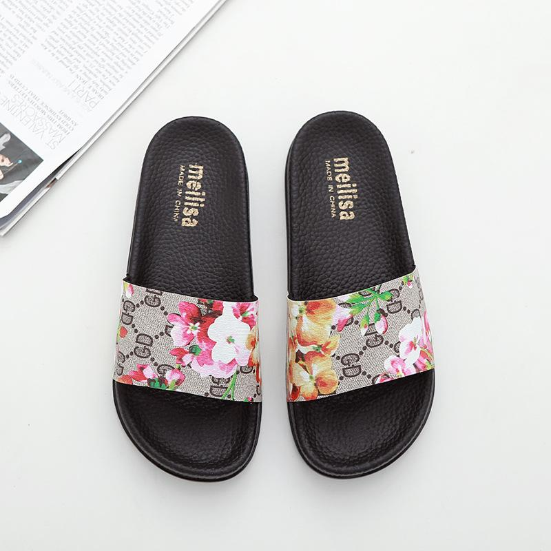 f1c3067a2313 Brand Designer Women S Slides Summer Floral Print GD Letter Women Beach  Sandals Bathroom Slippers Fashion Hotel Slipper Knee High Boots Womens Shoes  From ...