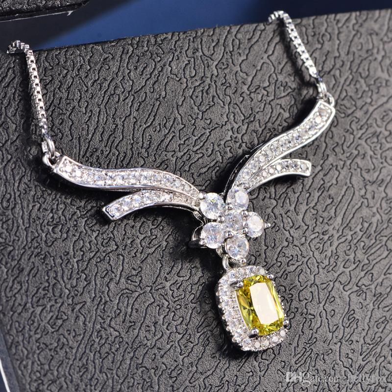 Collana Angel Love Flower Multicolore Ultra-Flash Zircon Jewelry Fine Clavicle Chain Bride