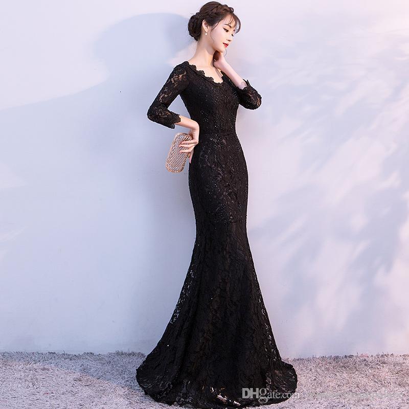 2018 Elegant Black Lace Mermaid Evening Dresses 3 4 Sleeves Custom Beaded  Long Prom Gowns V Neck Formal Women Wears Fast Shipping Ivory Evening  Dresses ... fb8fbca02f