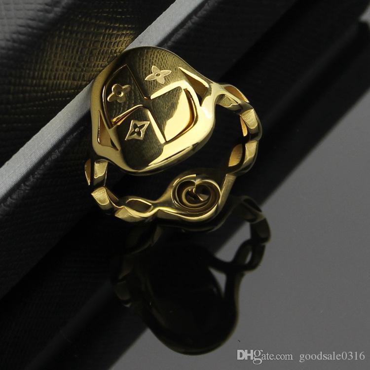 새로운 패션 브랜드 316L 티타늄 스틸 중공 반지 18K 골드 인격 반지 발렌타인 데이 커플 선물