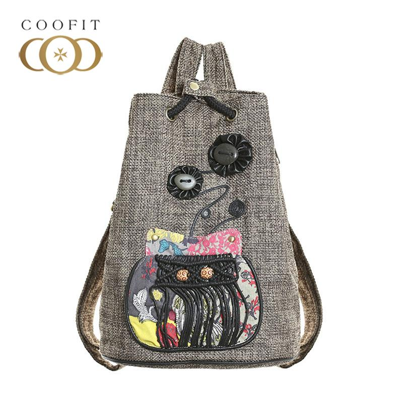 2018 Boho Style Women S Backpack Vintage Buckle Embroidery Students School  BackpacWith Unique Closure Design Drawstring Bags Leather Backpacks One  Strap ... 3e3925ea65