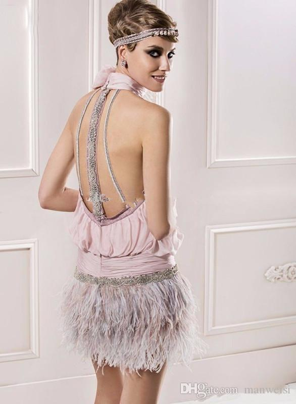 Vintage Great Gatsby Pink High Neck Short Cocktail Dresses With Feather Sparkly Beaded Backless Prom Party Occasion Gowns