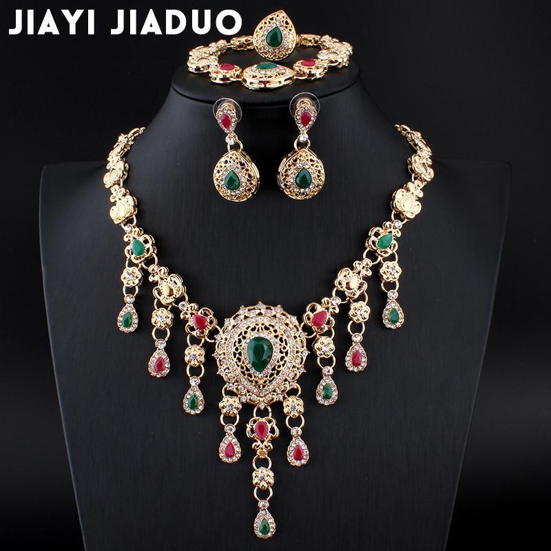 1708aaaced44 Compre Jiayijiaduo África Conjuntos De Joyas Para Mujeres Pendientes Africanos  Collar De Oro Color Clásico Colgante Vestido De Novia Accesorios A  29.0  Del ...