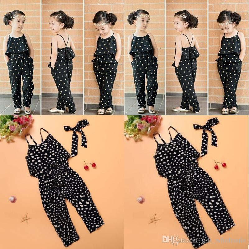 Girls Casual Sling Clothing Sets romper baby Lovely Heart-Shaped jumpsuit cargo pants bodysuits kids clothing children Outfit