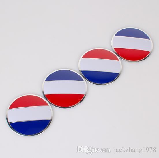 56.5mm France Flag Car Styling Aluminum alloy Center Wheel Cover Labeling Emblem Car Sticker Badge