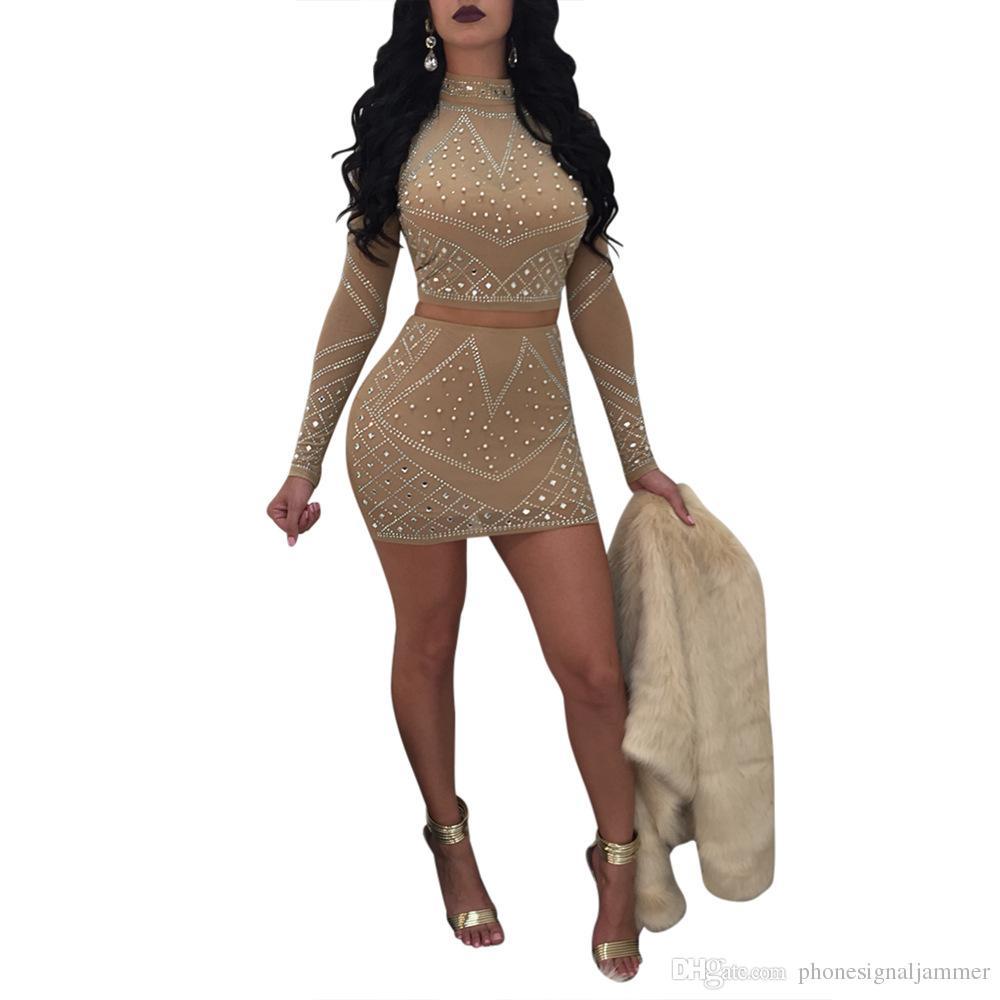 6df7b460f Mujeres sexy dos piezas Bodycon Outfit adornado Rhinestone manga larga Crop  Top con Mini vestido Clubwear