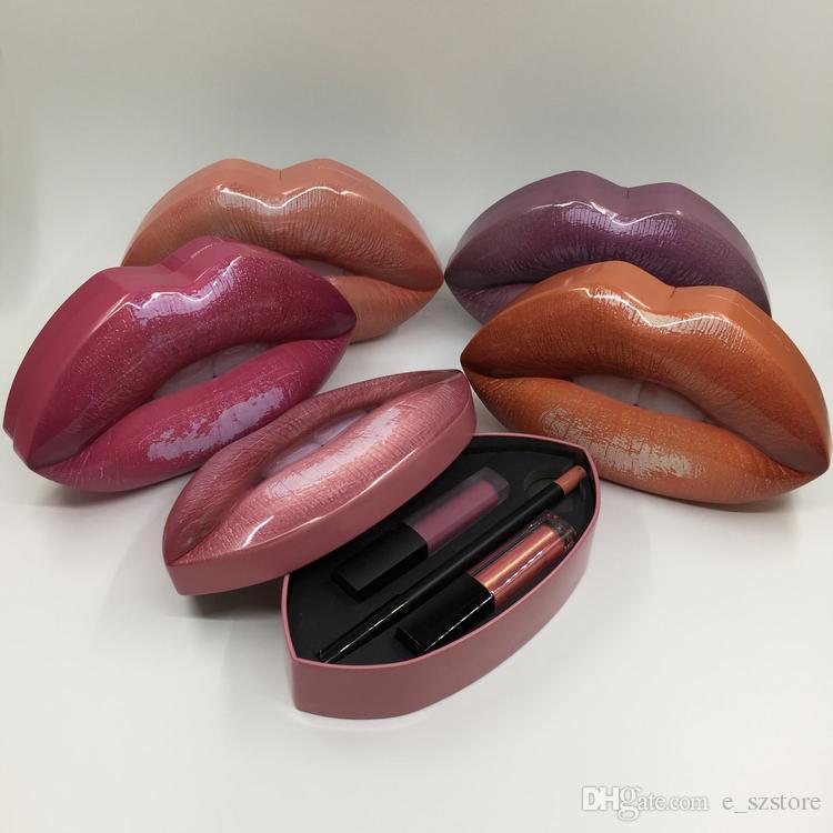 2017 Newest Beauty Matte Lip Contour and Strobe Lip Set Matte LIQUIFIED 5 different colors Lip Palette DHL