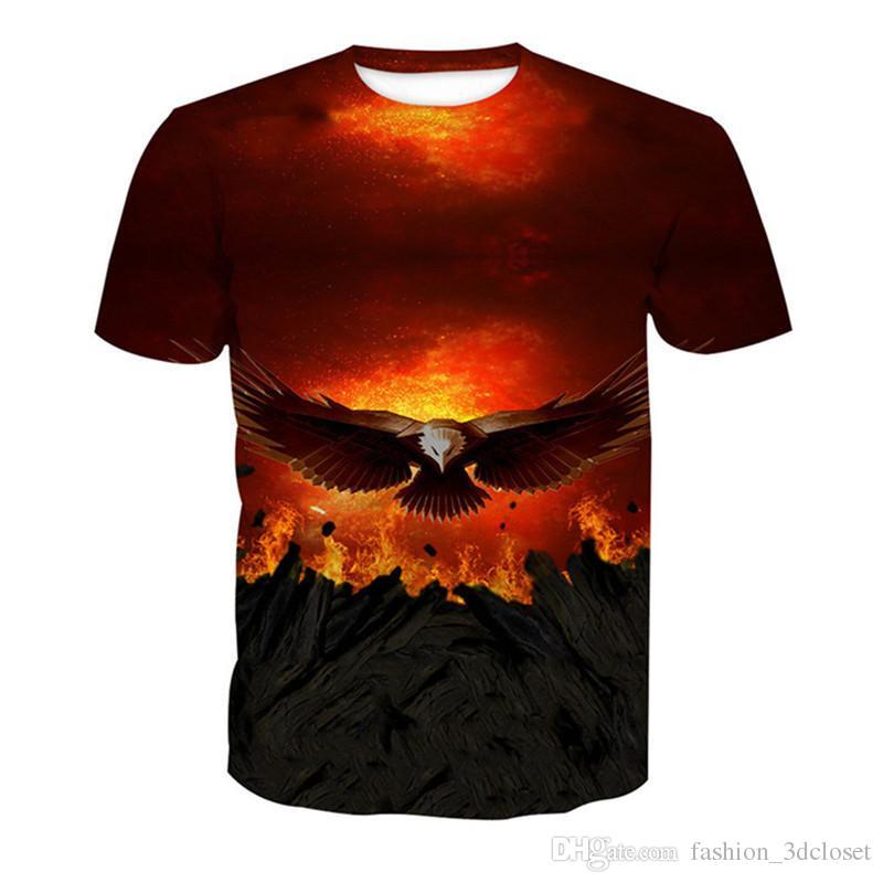6037e6e0 Fire Metal Eagle 3D T Shirt Men Funny Harajuku T Shirts Fitness Hip Hop  Streetwear Casual Mens Clothing Punk Rock T Shirts Crazy T Shirt T Shir  From ...