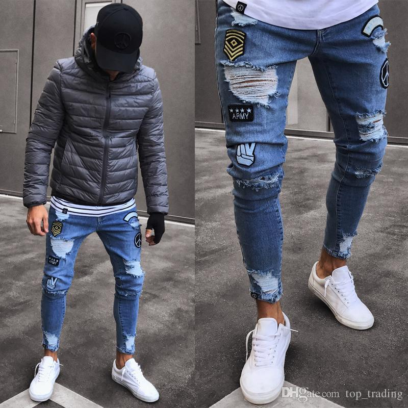 0cb113df 2019 2018 Mens Skinny Jeans Ripped Slim Fit Stretch Denim Distress Frayed  Jeans Pattern Destroyed Taped Pencil Trousers 1016 From Top_trading, ...