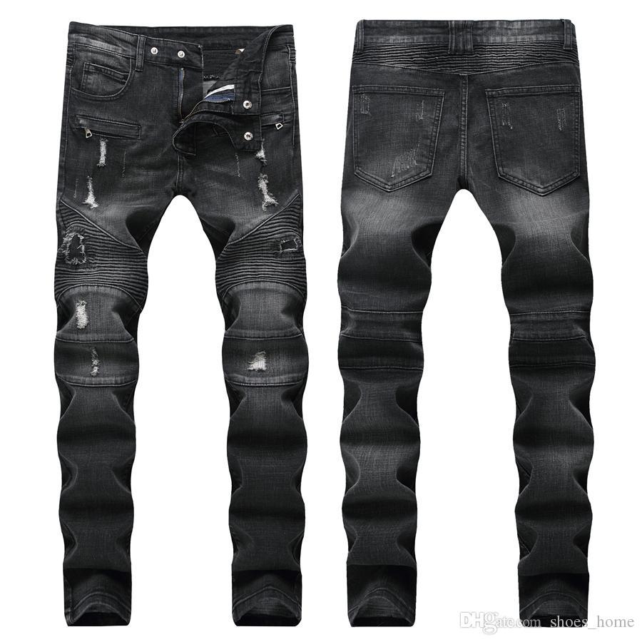 Мужские прямые облегающие байкерские джинсы с застежкой-молнией. Мужская одежда Ужасная дыра. Уличная одежда. Роскошные джинсы Робин.
