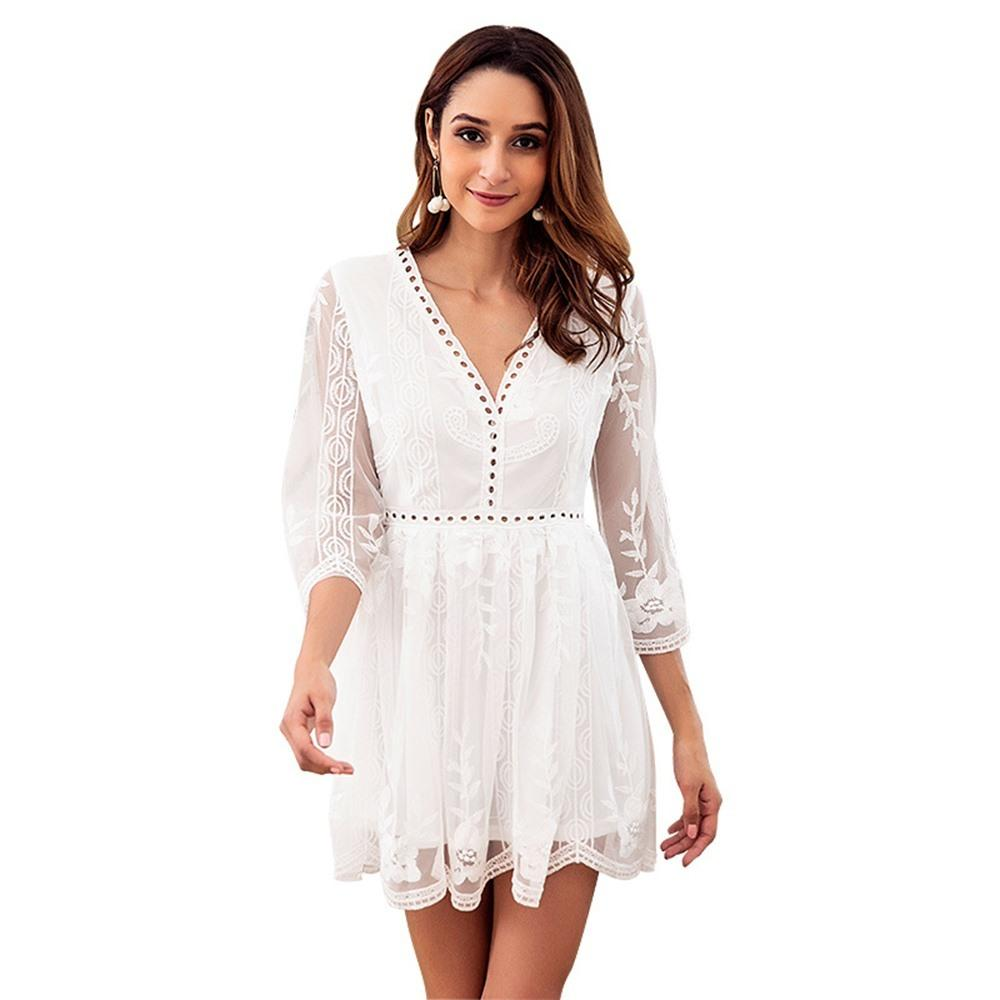 cec008adc738 Bohemian White Lace Fairy Short Dress Women 2019 Hot New Embroidery Floral  Hollow A Line Pullover Girls Clubs Sexy Boho Dresses Casual White Summer  Dress ...