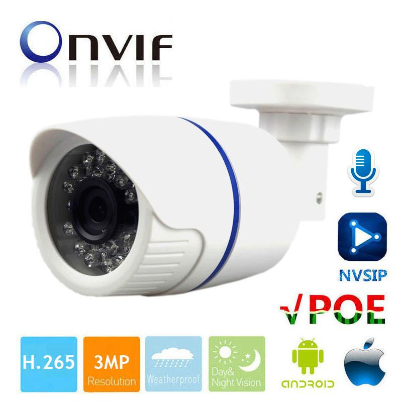 3MP IP Camera POE Audio 3MP Camera IP With External Microphone Pickup  Outdoor Waterproof CCTV Camera