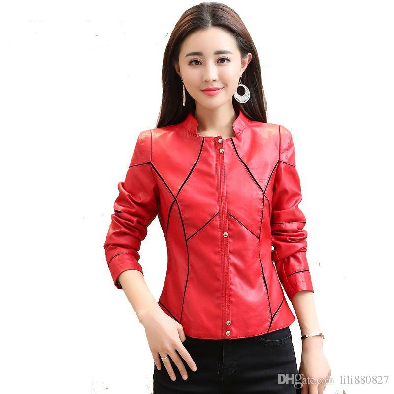 111820622 Women Leather Coat Female Slim Short Leather Jacket Women s Outerwear Sexy  black stripes Ladies Short Coat