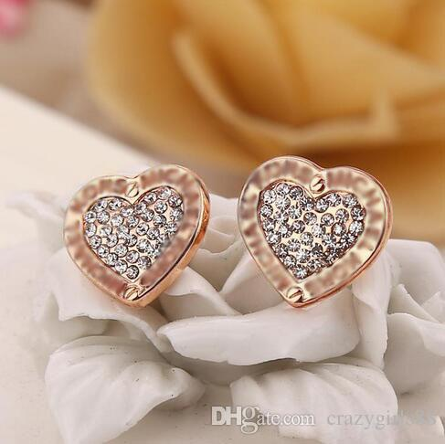 Fashion Letters Crystal Contracted Earrings Loving Heart Alloy Stud Earrings Gold Silver Rose Gold