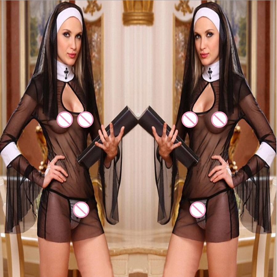2018 New Sexy Costume Women Cosplay Nuns Uniform Transparent Sexy Lingerie Exotic Nun Halloween Costumes Dress Outfit Clothing