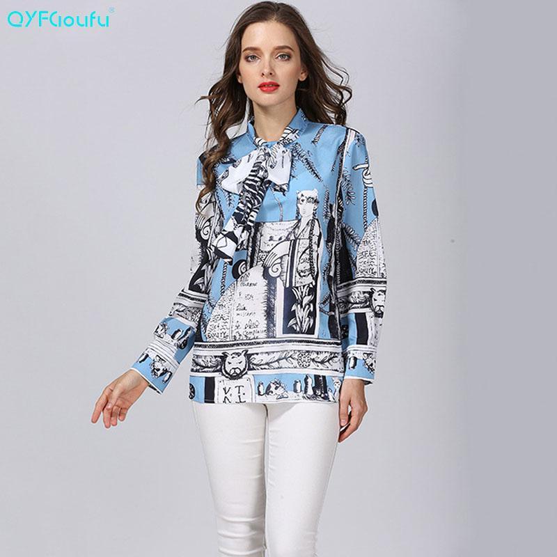 3ff60adf7 Compre Atacado Designer Runway Azul Floral Arco Mulheres Blusas 2018 Verão  De Manga Longa Chiffon Blusa Camisa Mulheres Tops 3XL Plus Size De  Longmian