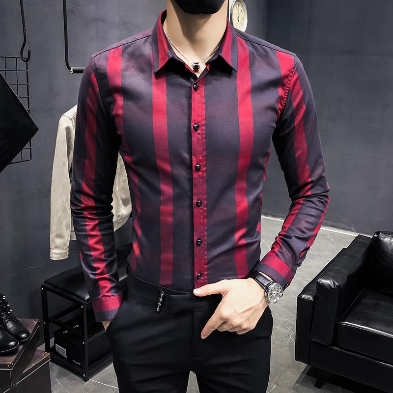 79bdb75fc6ac0 ALI48-ALI54ew Korean fashion youth striped slim long-sleeved shirt British  wind trend men's casual clothing