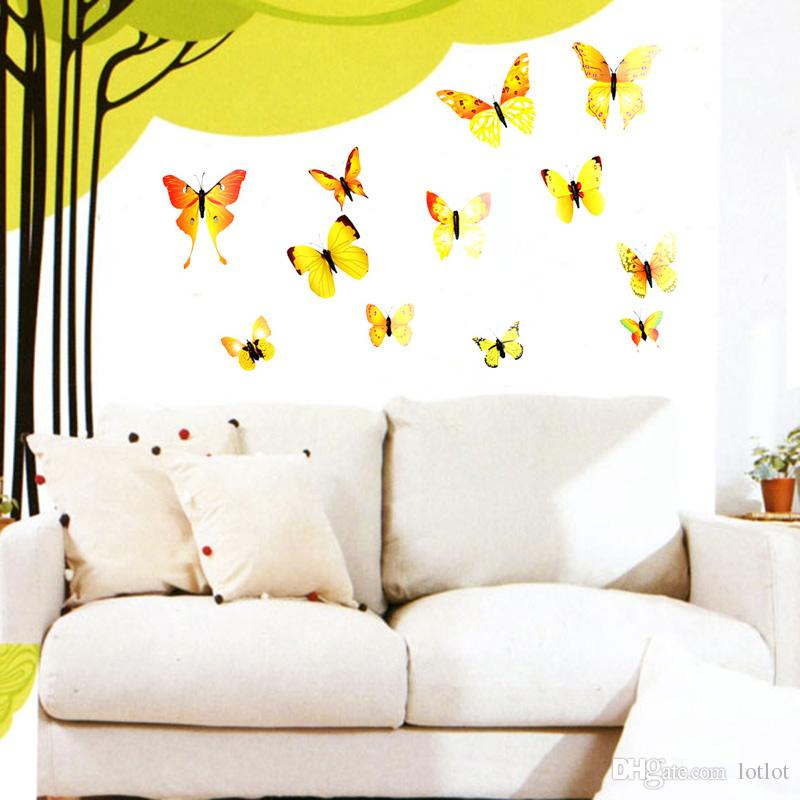 12 UNIDS 3D Etiqueta de La Pared mariposas Pegatinas para el Hogar Salón Niños Habitación Decoración de la Habitación de PVC DIY cartel etiqueta de la pared