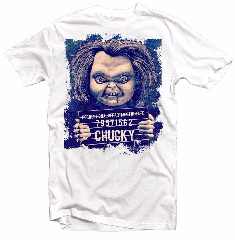 56c10b27 Chucky Mugshot Childs Play Funny White Cotton Printed T Shirt FN9314 Funny  Unisex Gift Movie T Shirts Men Shirt From Topclassa, $12.96| DHgate.Com