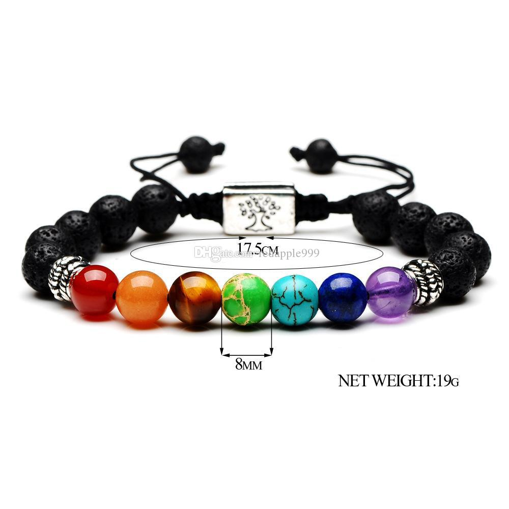 Fashion Black Lava Stone Essential Oil Diffuser Bracelet Square Tree of Life 7 Chakra Beads Women Men Yoga Buddha Bracelets Jewelry Gift