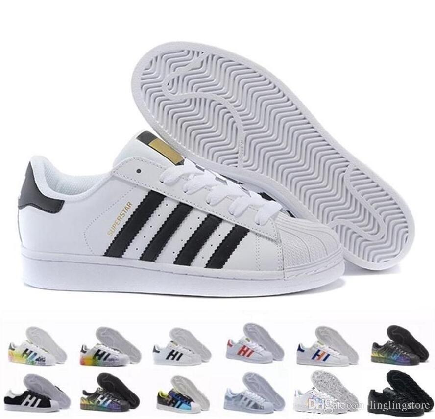 finest selection 163e5 14168 2019 2017 Superstar Original White Hologram Iridescent Junior Gold  Superstars Sneakers Originals Super Star Women Men Sports Running Shoes 36  44 From ...