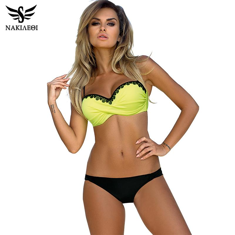 075da8bac9 NAKIAEOI Newest Sexy Bikini Women Swimsuit Push Up Bikini Set Lace Up Retro  Beach Bathing Suit Plus Size Swimwear Swim Wear UK 2019 From Z6241163
