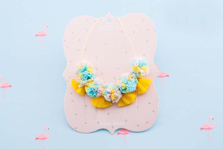 الحلو الطفل بنات قلادة الشاش زهرة شرابة الأطفال كل مباراة قلادة ملون الزهور الاطفال مجوهرات الأميرة اكسسوارات C3557