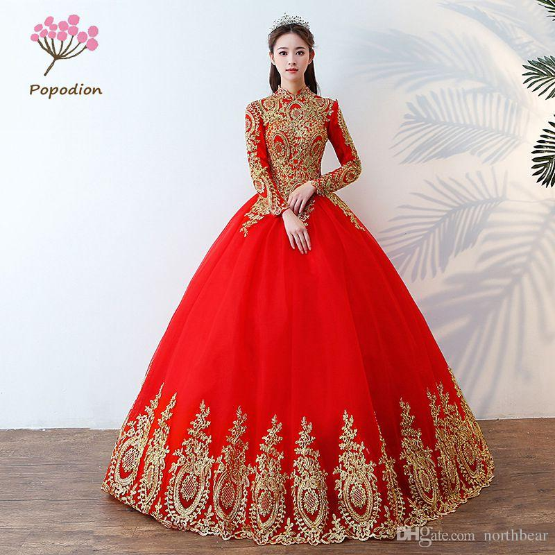 Popodion Red High Neck Wedding Dress Lace Plus Size Wedding Gowns